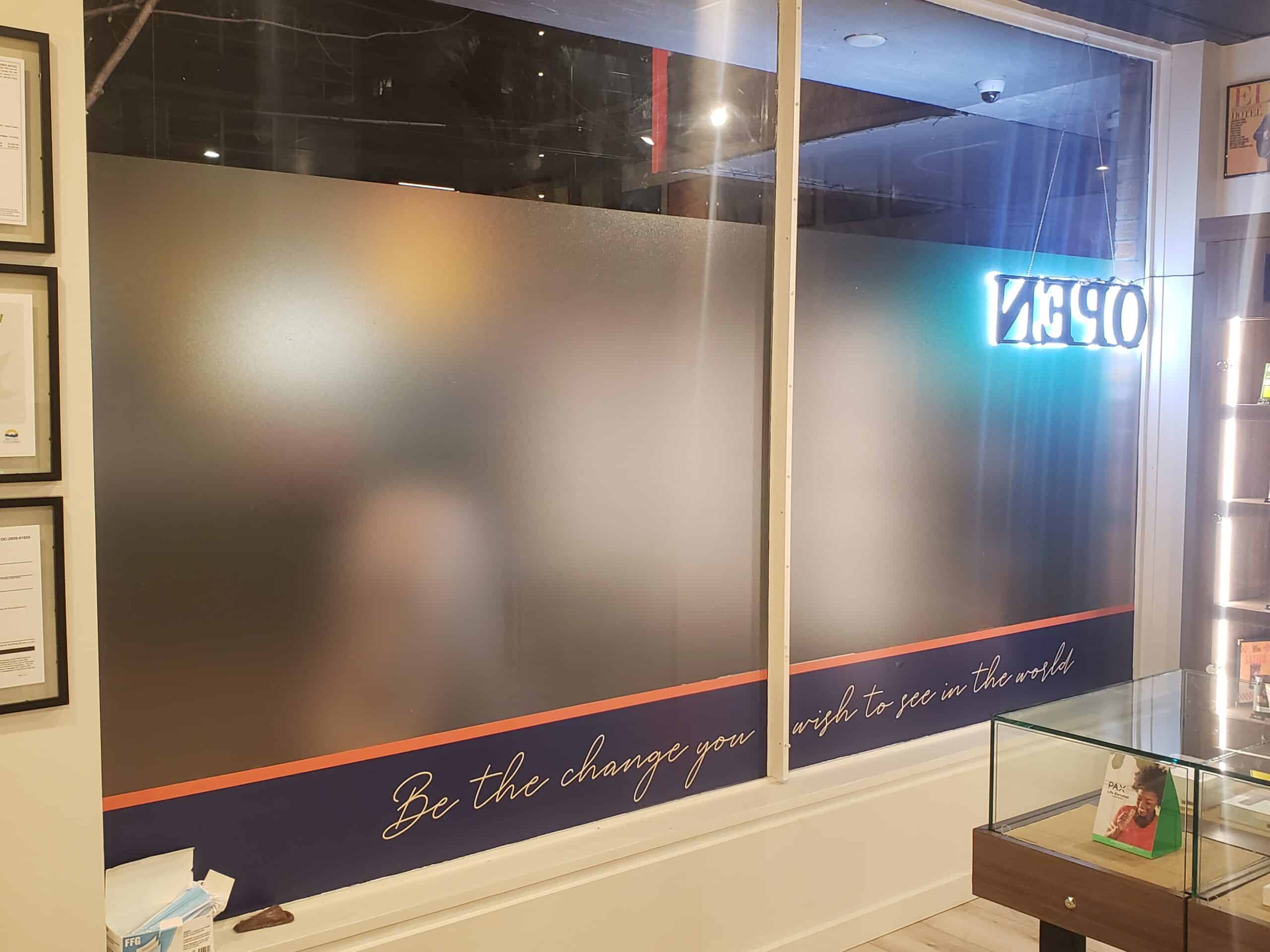 Window graphics with quote and frosted vinyl