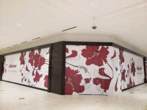 Willowbrook Mall vinyl graphics complete wall mural shop hoarding