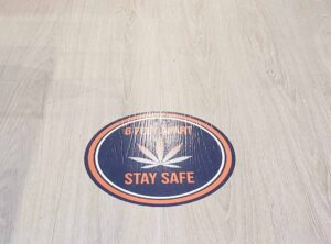 Floor graphics inspired cannabis, blue and orange