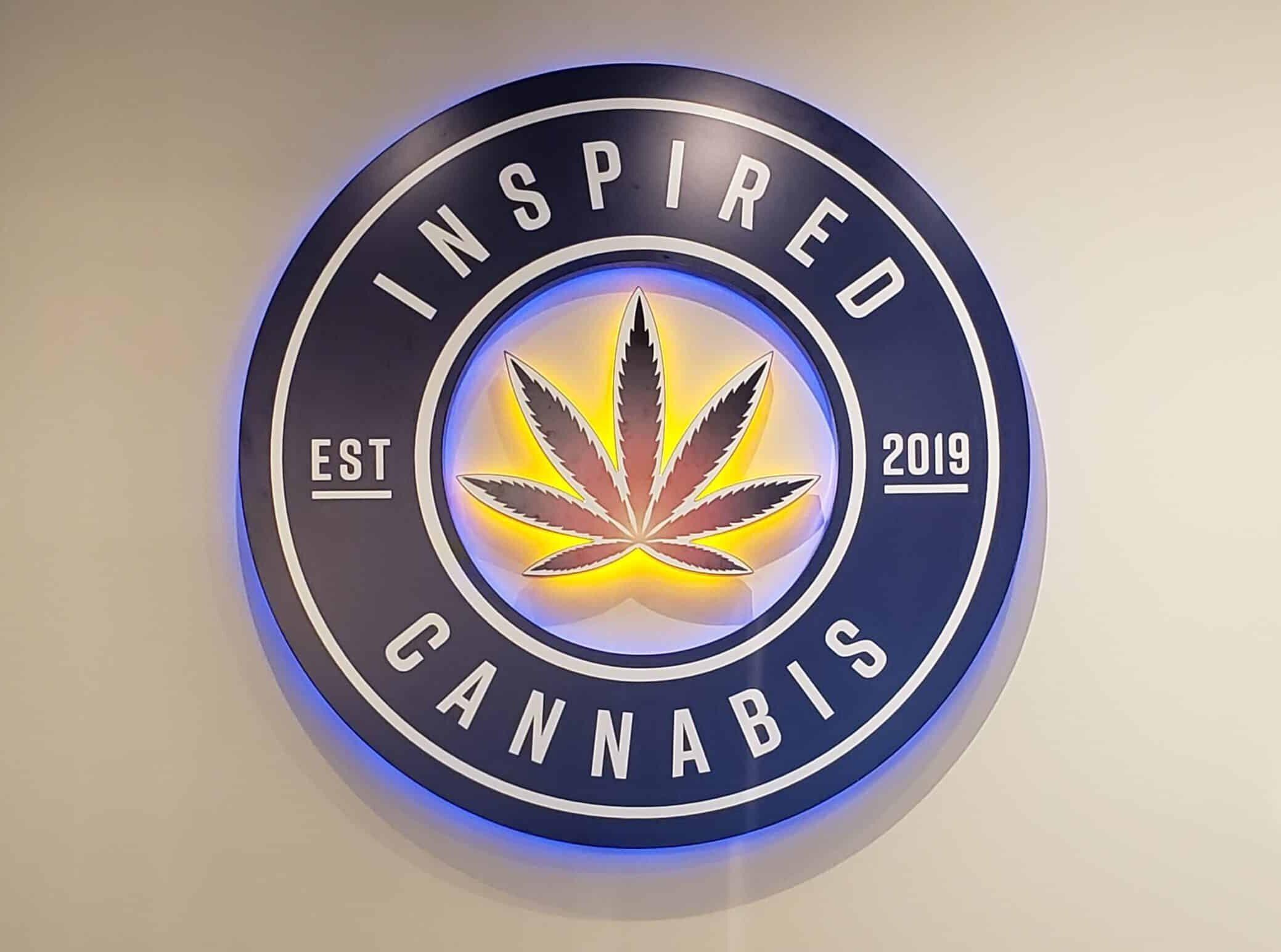 Inspired Cannabis backlit lobby sign