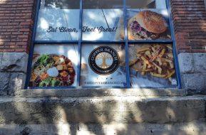 Restaurant outdoor window graphics with 3M vinyl